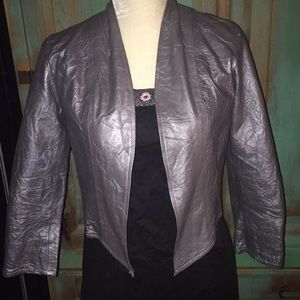 Conditions Apply Silver Leather Cropped Jacket